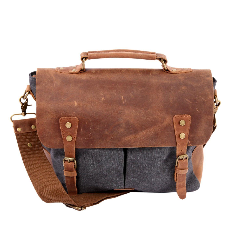 WindFeel Premium Cotton messenger bag Canvas Cross Body Laptop Bag -Vintage Handbag Bag for Men Business (Dark Grey),14.2*3.9*11 inch (L*W*H)