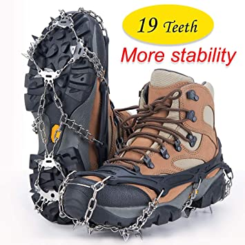 top brands offer discounts big discount Uelfbaby Walk Traction Cleats Ice Snow Grips Anti Slip Stainless Steel  Spikes 19 Teeths Crampons for Boots Shoes L/XL/XXL