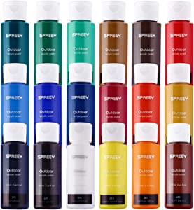 SPREEY Acrylic Paint Set of 18 Colors Large 18x59ml (2Oz) for Paint Supplies, Painting Canvas Wood, Fabric, Nail Art, Gift, Rich Pigments Non Fading, Non Toxic Paints for Adults Kids Artists Beginners