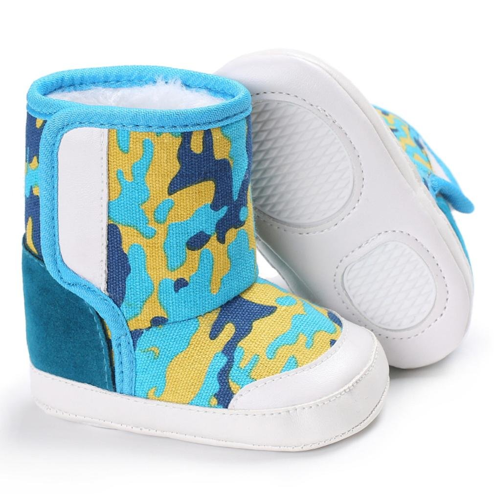 8# HEART SPEAKER Stars Print Baby Girl Boy Fashion Canvas Anti-Slip Thick Warm Shoes Winter Boots Size 11cm