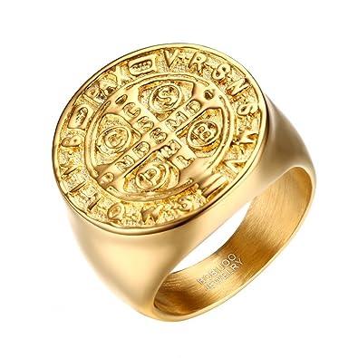 a22e7cad8d81c4 BOBIJOO Jewelry - Bague Chevalière Homme Médaille Croix Ordre Saint Benoît  de Nursie Acier Doré Or