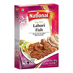 National Foods Lahori Fish Recipe Mix 3.45 oz (98g)   Traditional Spice Powder   Essential South Asian Dish   Stir Fry Seasoning Food   Box Pack