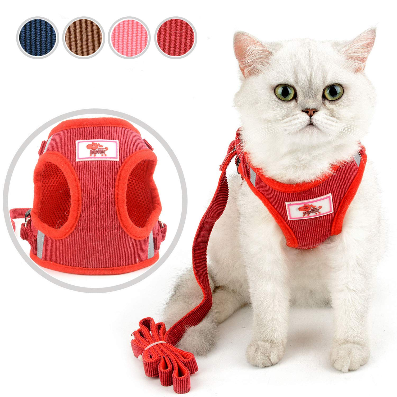 Zunea Pet Cat Harness and Lead Set Escape Proof for Walking Adjustable Reflective Step-in No Pull Mesh Padded Puppy Vest Harnesses Soft Corduroy for Kitten Small Dogs Red L by Zunea