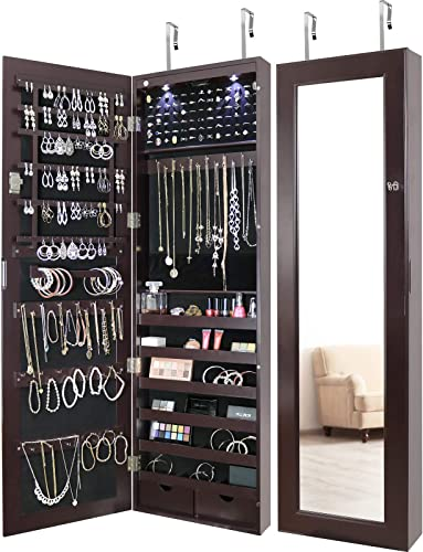 Greenco Door Jewelry Organizer Armoire with Large Led Lights, Lockable-Espresso Mirror
