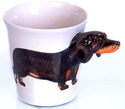 Tazza In Ceramica Realizzato A Mano Motivocane Bassotto Nero