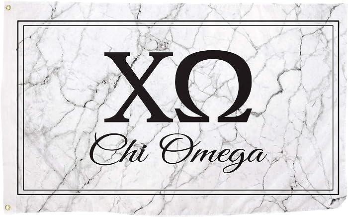 Chi Omega Letter Sorority Flag Banner 3 feet x 5 feet Sign Decor chi o (Flag - Marble Box)