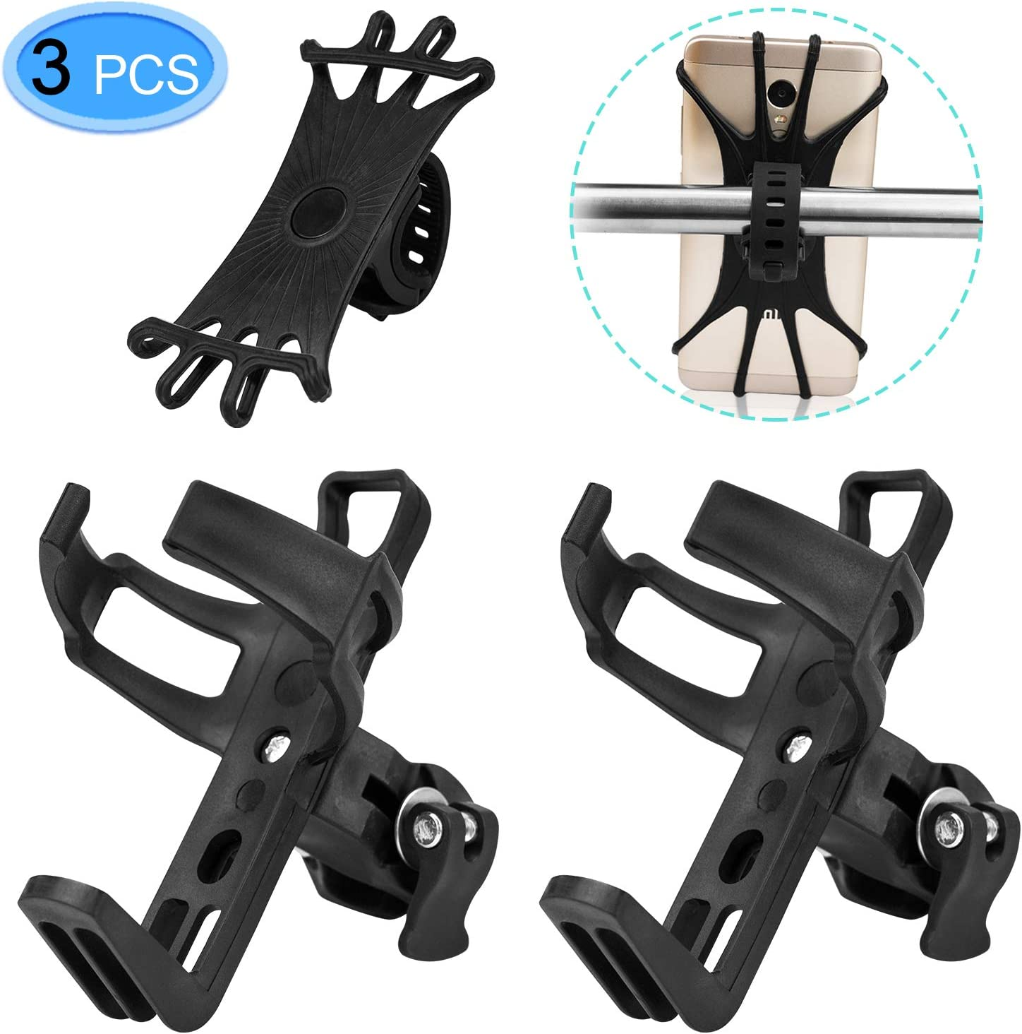 EAONE 2 Pack Bike Water Bottle Holder No Screws with 1 Pack Silicone Bike Phone Mount