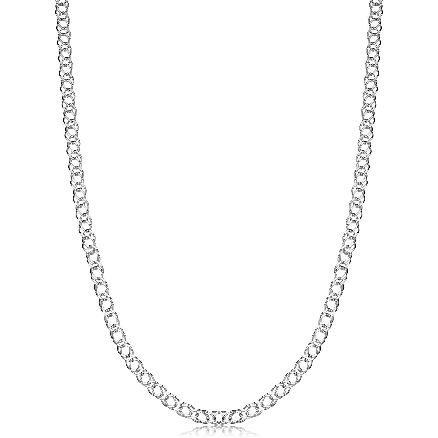 d14a3b83f594b Kooljewelry Sterling Silver 2.8 mm Double Curb Link Necklace (16, 18, 20,  22, 24, 30 or 36 inch)