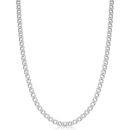 Amazon Com Sterling Silver 2 8mm Double Curb Link Chain Necklace