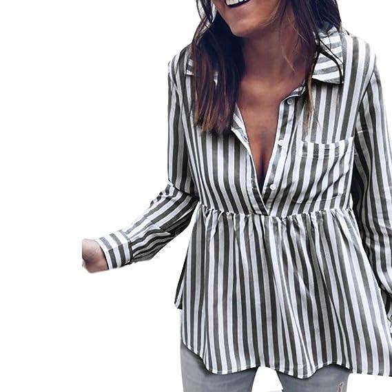 ❤ Blusa Mujer a Rayas 2018,Las Mujeres de Moda a Rayas Top Casual Camiseta de Manga Larga Floja de Las Señoras Absolute: Amazon.es: Ropa y accesorios