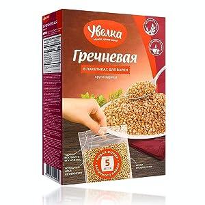 Uvelka Kasha Buckwheat BOIL IN BAG - 5x80Gr (14oz), Pack of 3, Organic Food
