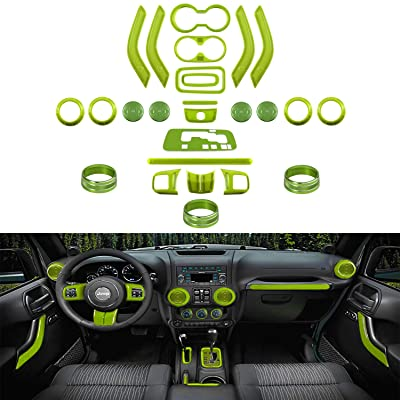 26 PCS Interior Decoration Trim Kit-Steering Wheel&Center Console Cover, Air Outlet Trim, Door Handle Cover Inner, Gear Frame, Copilot Handle Trim For Jeep Wrangler JK JKU 2011-2020 2&4-Door (Green): Automotive