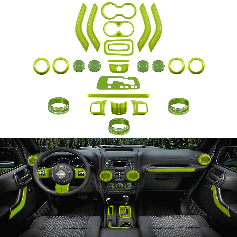 26 PCS Interior Decoration Trim Kit-Steering Wheel&Center Console Cover, Air Outlet Trim, Door Handle Cover Inner, Gear Frame, Copilot Handle Trim For Jeep Wrangler JK JKU 2011-2018 2&4-Door (Green) by Sunluway