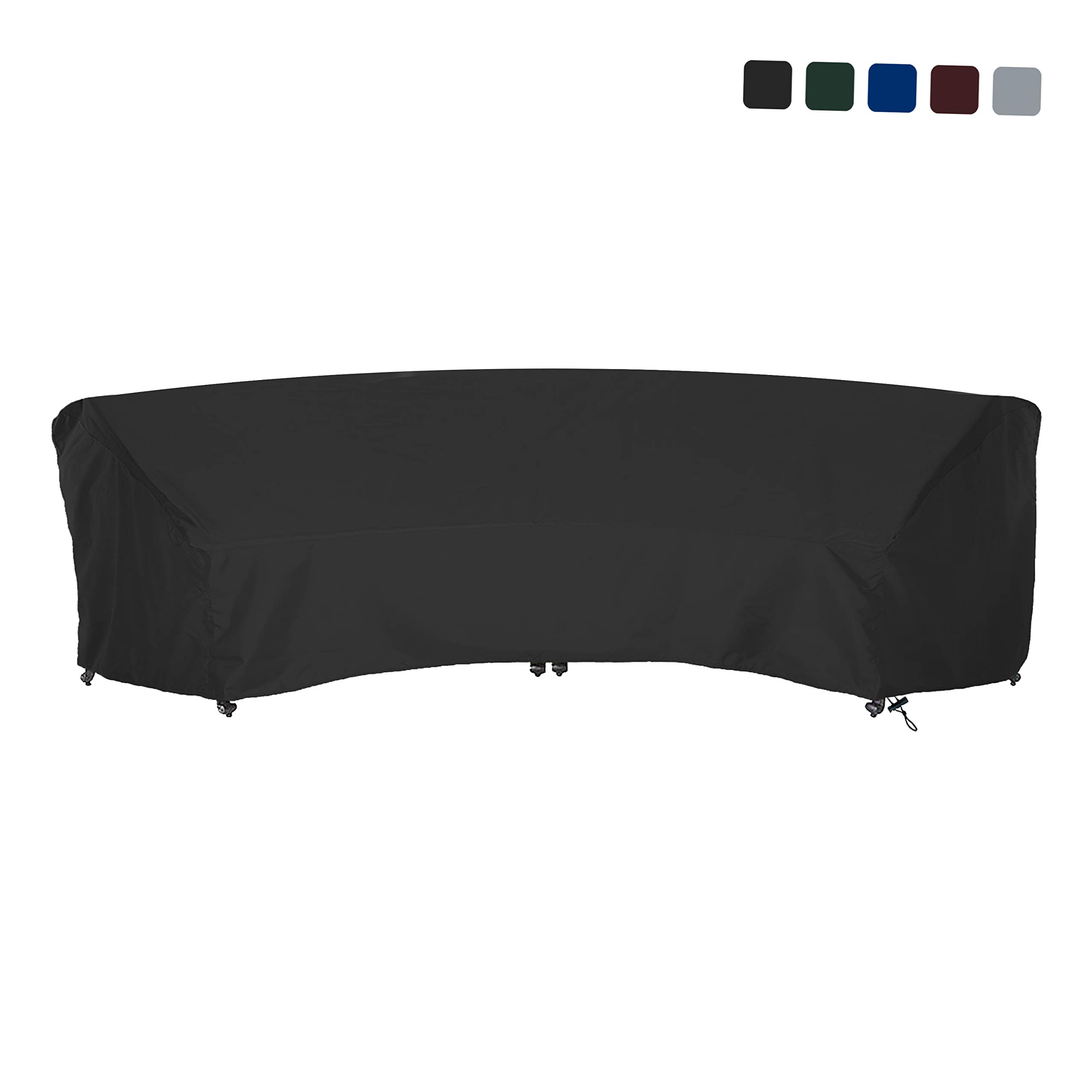 COVERS & ALL Curved Sofa Cover 18 Oz Waterproof - 100% UV & Weather Resistant Customize Outdoor Sofa Cover with Air Pockets and Drawstring with Snug Fit (120 L x 36 W x 38 H x 82 FL, Black)