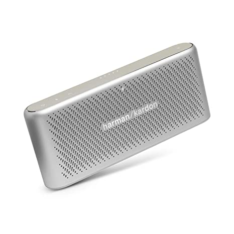 Harman Kardon HK Traveler Silver Portable Bluetooth Speaker with Microphone Silver Bluetooth Speakers at amazon