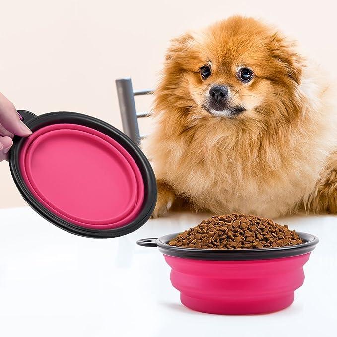 Hosaire Gato Recipiente para Perros- Comedero para Mascotas Bebedero Portátil Plegable de Viaje Cuenco Recipiente Plato Silicona para Perro Gato con Mosquetón