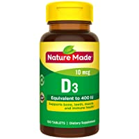 Nature Made Vitamin D3 400 IU (10 mcg) Tablets, 100 Count for Bone Health† (Packaging...
