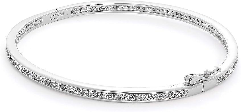 cercle Quartz rose et Zircones Argent 925 rhodi\u00e9  925 Silver Bracelet Jonc Bracelet Argent 925 Argent 58 mm Bracelet Jonc