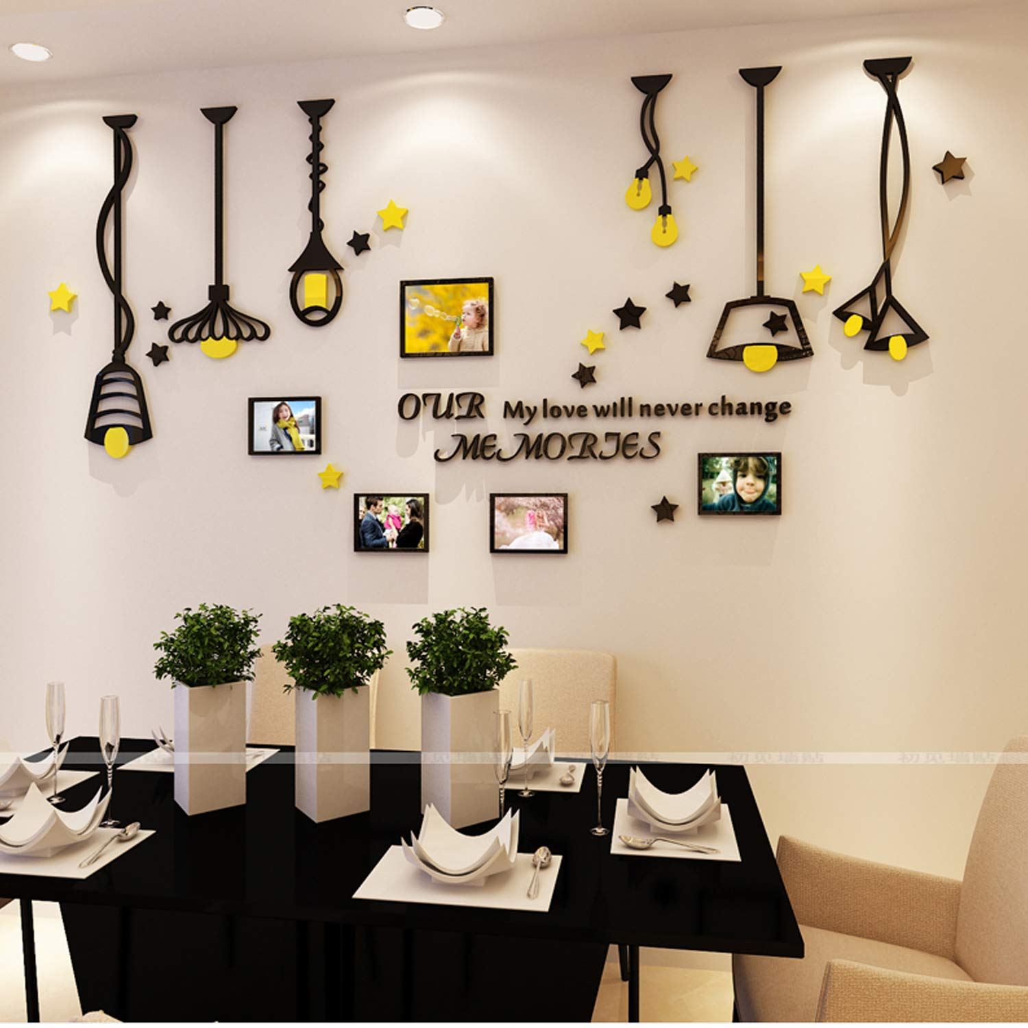 YINASI Acrylic Art 3D Wall Sticker, Black and Yellow Lamp Design with DIY Photo Frame, Wall Decors for Home, Living Room, Bedroom, Sofa Setting Wall, Dining Room