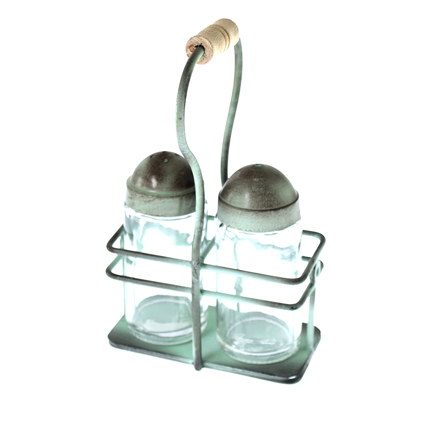 French Kitchen Collection Salt and Pepper Set, Steel, Antique Green, 10 x 9 x 17 cm Kom Amsterdam 2336