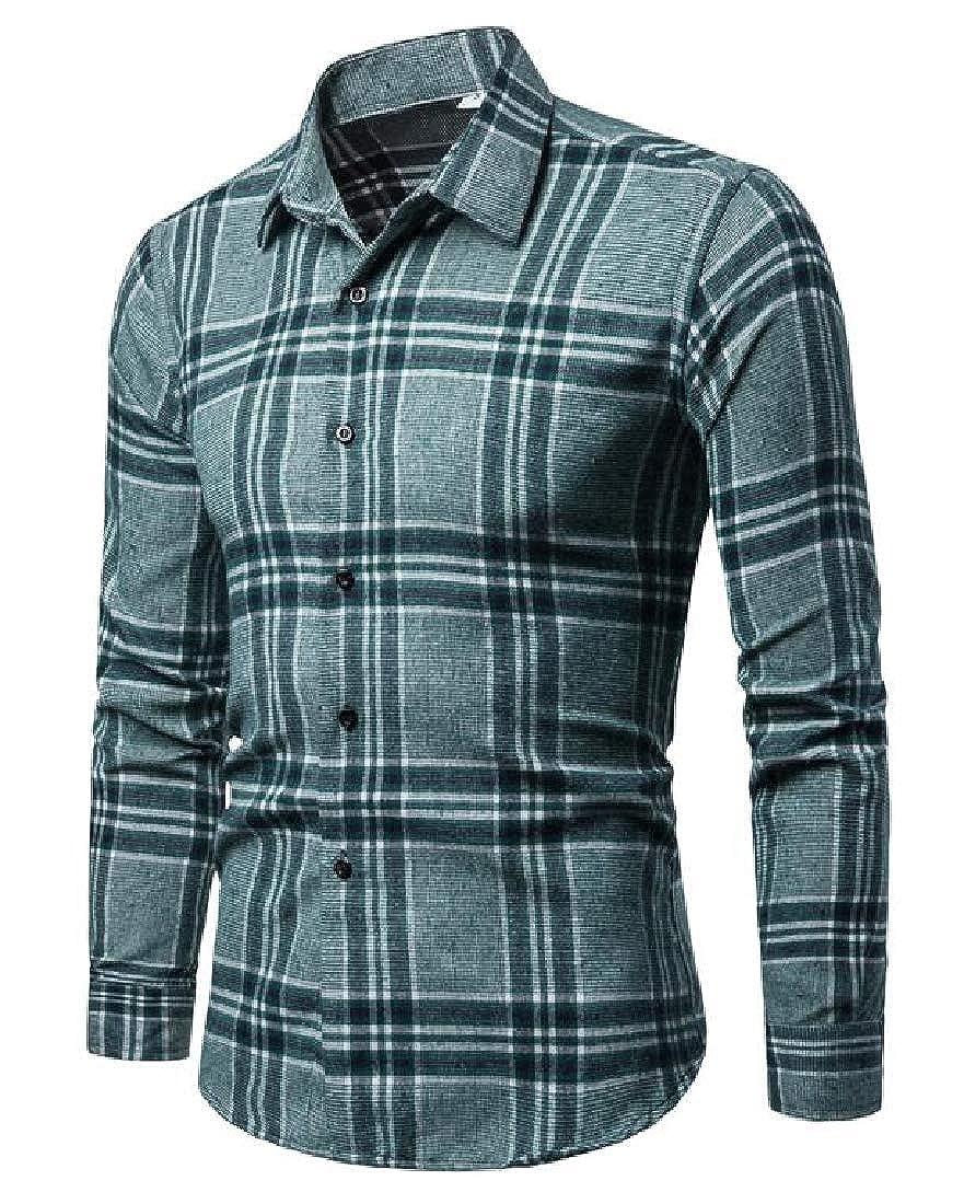 Domple Mens Plaid Slim Fit Long Sleeve Lapel Neck Button Down Dress Shirt