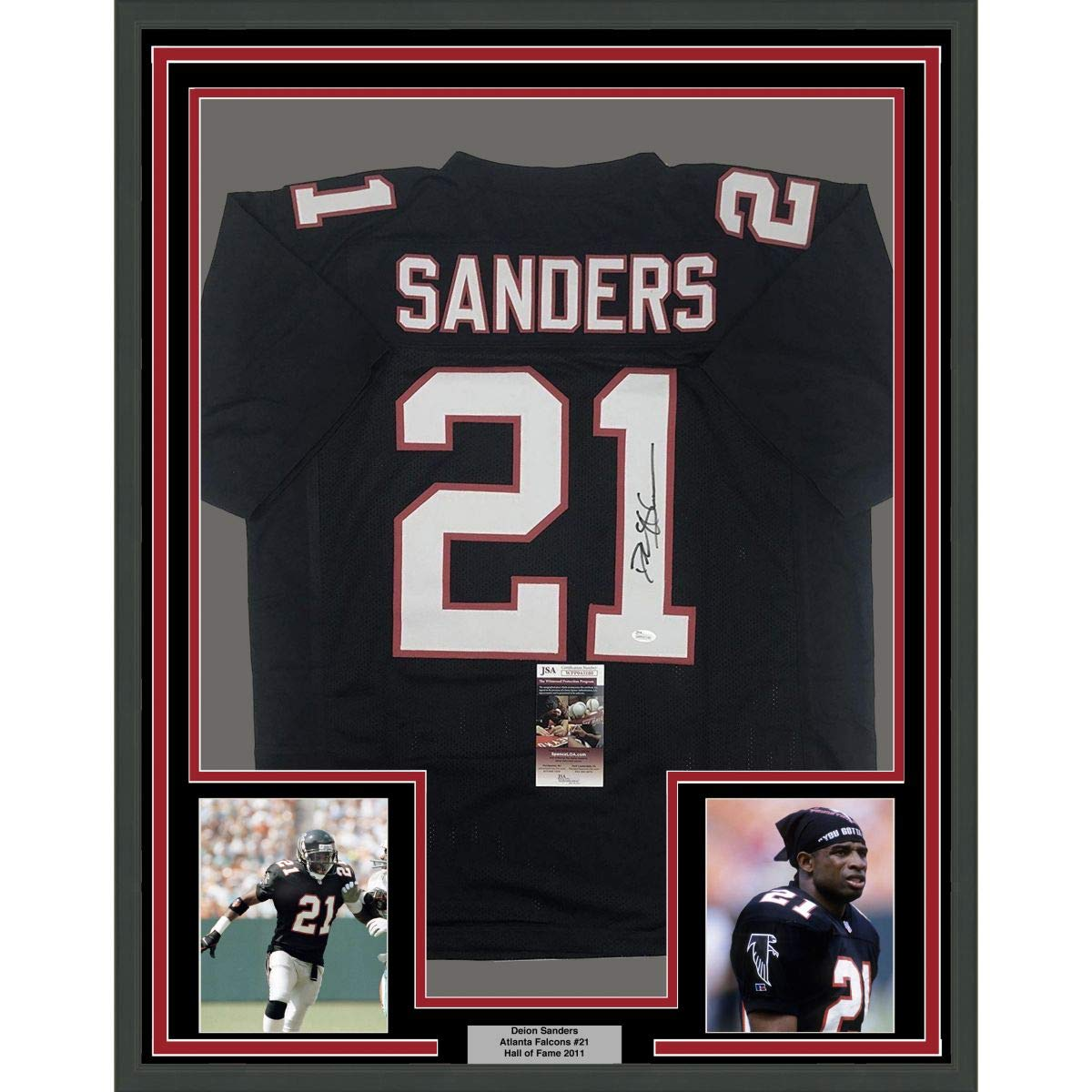 82d3898054d Framed Autographed Signed Deion Sanders 33x42 Atlanta Black Football Jersey  JSA COA at Amazon s Sports Collectibles Store