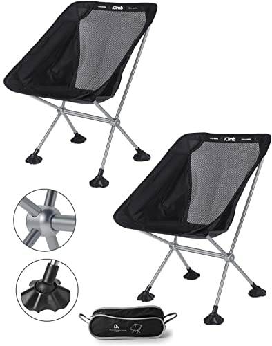 iClimb Ultralight Compact Camping Folding Beach Chair with Large Feet Black – Metal Connection – 2 PC