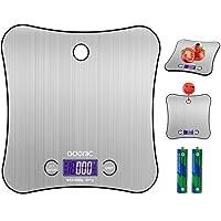 ADORIC Balance Cuisine Electronique Balance de Précision 5kg/1g, Acier Inoxydable Tactile Sensible, Écran LCD Grande Taille Accrochable Forme Papillon