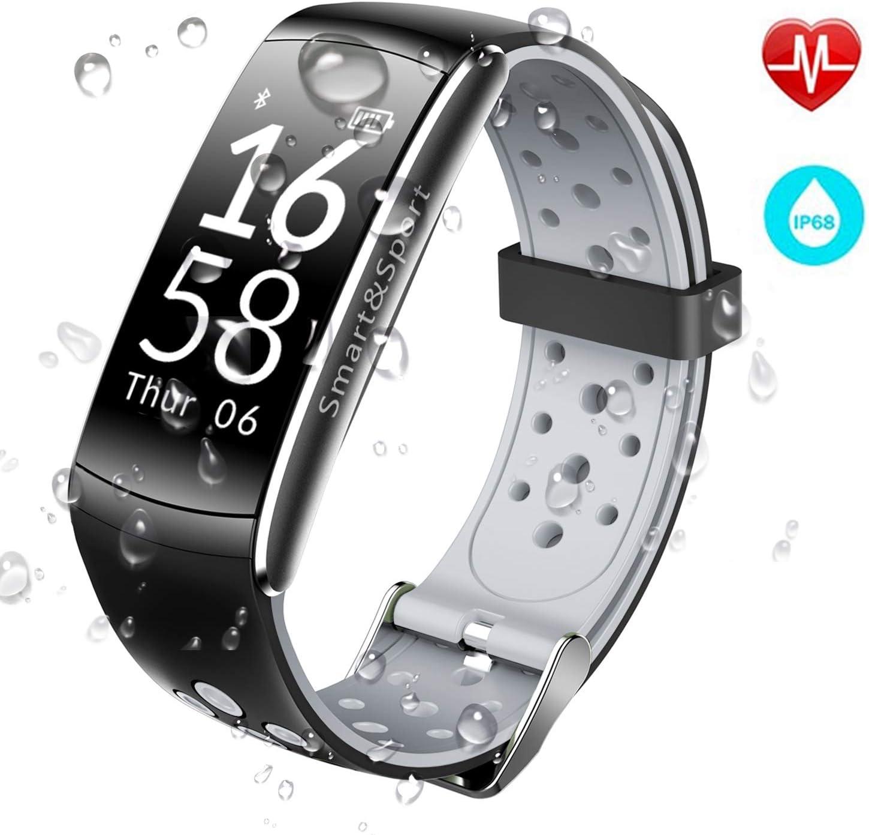 JUCERS Fitness Pulsera con Monitor de Ritmo Cardíaco, Impermeable IP68 Natación Fitness Tracker Apoyado, Múltiples Modos de Ejercicio Podómetro Presión Arterial Contador de calorías de Reloj SMS