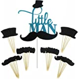 Shxstore Little MAN Cake Topper Mini Mustache Hat Bowtie Cupcake Picks For Baby Shower Birthday Party Decorations Supplies, 31 Counts