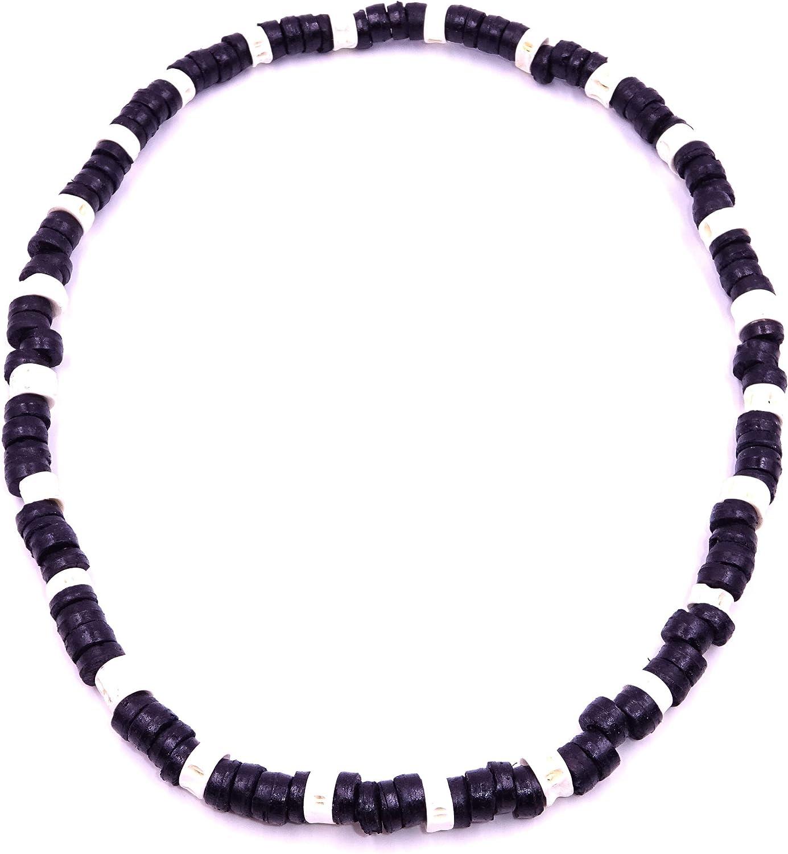 Collar de surf de coco étnico de madera con perlas de coco tribal y colgante para hombre y mujer, color negro y blanco