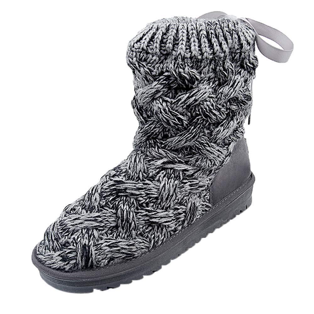 ZHRUI ZHRUI ZHRUI Frauen-Bogen-Wolle-hohe Schlauch-Schnee-Aufladungen warme Aufladungs-Schuhe Winter-Schnee-Aufladungs-Schuhe (Farbe   Grau, Größe   3.5 UK) 196561