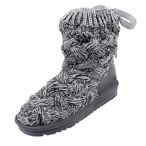 ZHRUI Botas de Nieve de Tubo Alto de Lana de Arco para Mujer Botas Calientes Zapatos