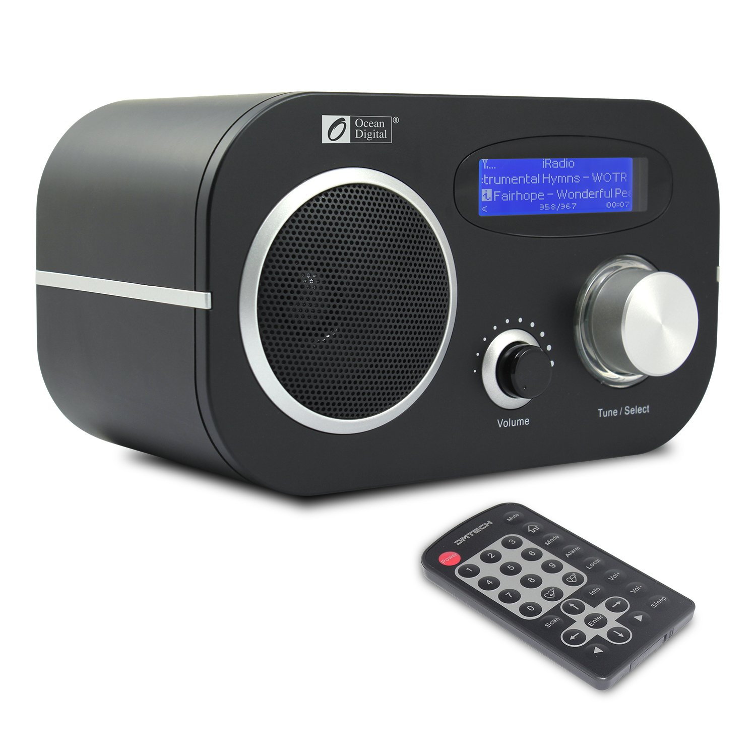 Ocean Digital Internet FM Radio WR80 WiFi Wireless Wlan Receiver Ethernet Desktop Music Media Player with Dual Alarm Clock- Black WR-80