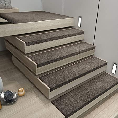 QFFL Alfombra para Escalera Las Huellas De Escalón Mats, Antideslizante Escaleras Paso De Alfombras De Interior Y Exterior Corredor Alfombra De Un Conjunto De 5 Pegamento-libre Autoadhesivo Lavadora L: Amazon.es: Hogar