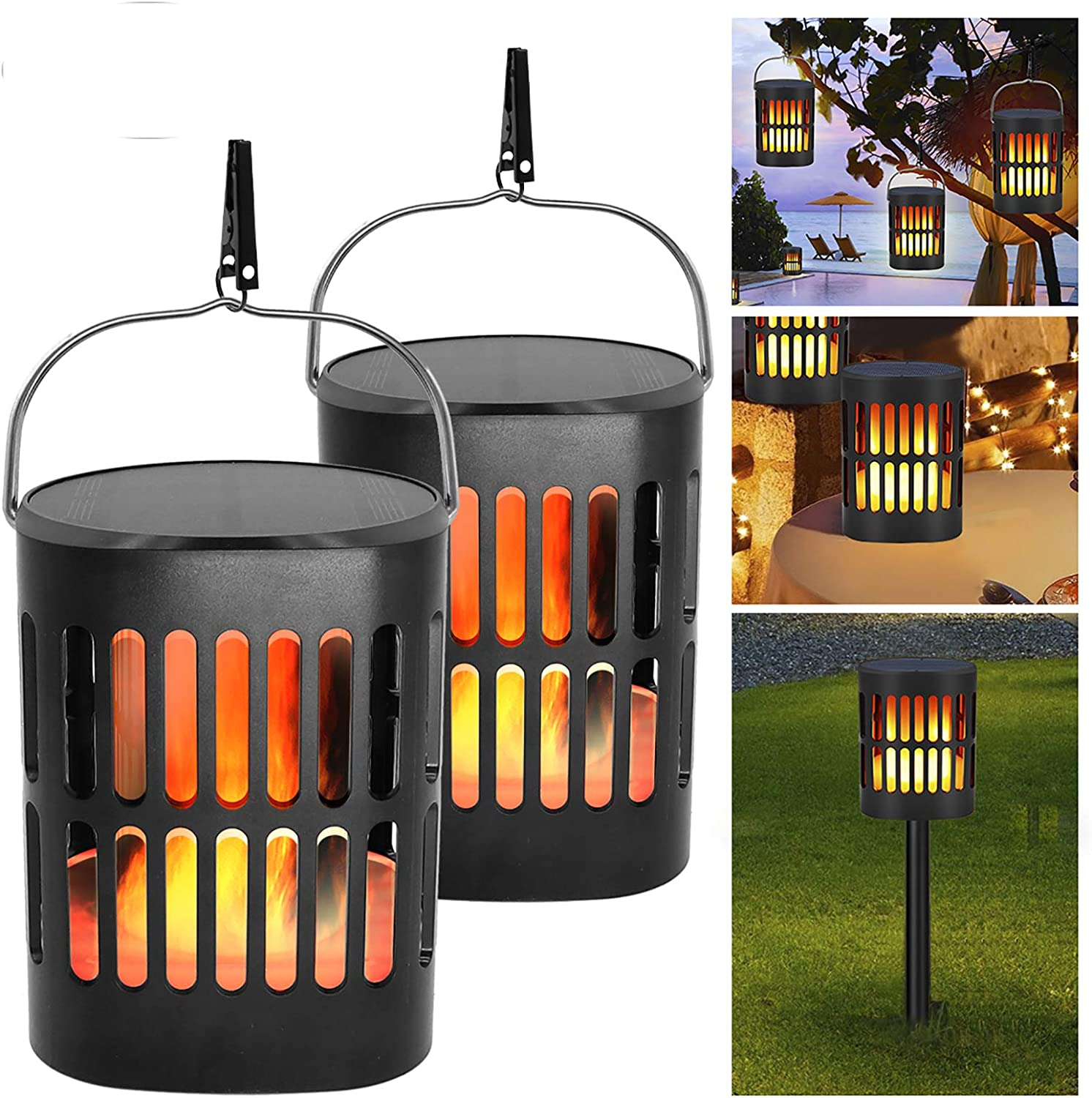 Solar Lantern Lights Outdoor Hanging Decorative -Solar Flame Torch Landscape Pathway 96 Led Waterproof Tabletop Lights Auto On/Off for Path,Camping,Garden,Patio,Deck,Yard: Home Improvement