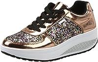 Mujer Zapatillas de Deporte Cuña Zapatos para Caminar Aptitud Plataforma Sneakers con Cordones Calzado de Tacón 4cm Oro EU 40