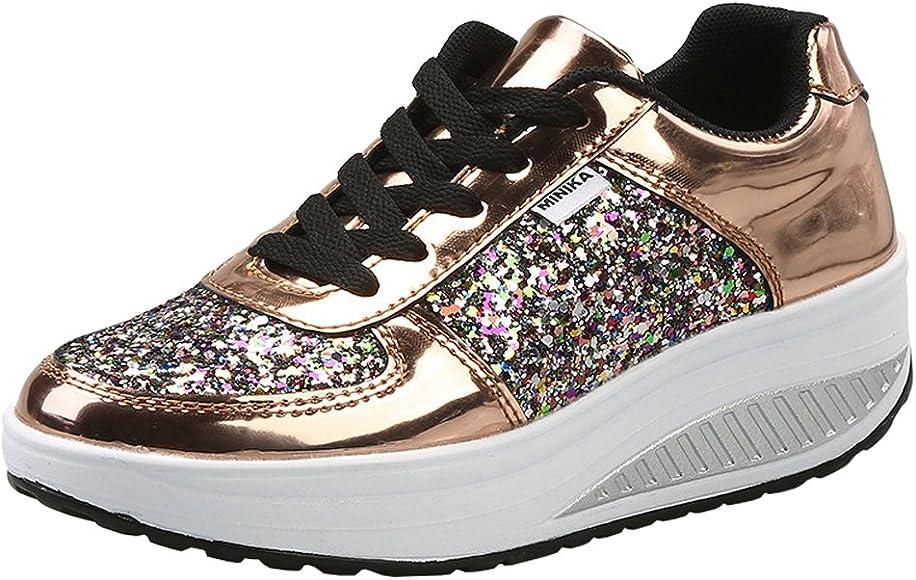 Mujer Zapatillas de Deporte Cuña Zapatos para Caminar Aptitud Plataforma Sneakers con Cordones Calzado de Tacón 4cm Oro EU 36