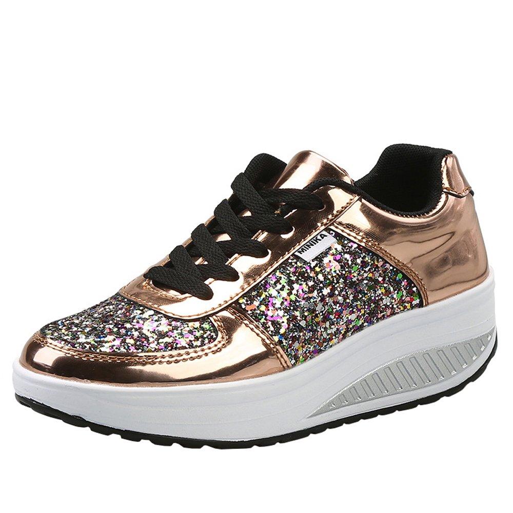Lanchengjieneng Ladies Walking Platform Shoes, Womens Fitness Orthopedics Wedge Sneakers with 3D Glitters B07FDX57MQ 9.5 US Women/40 EU|Gold