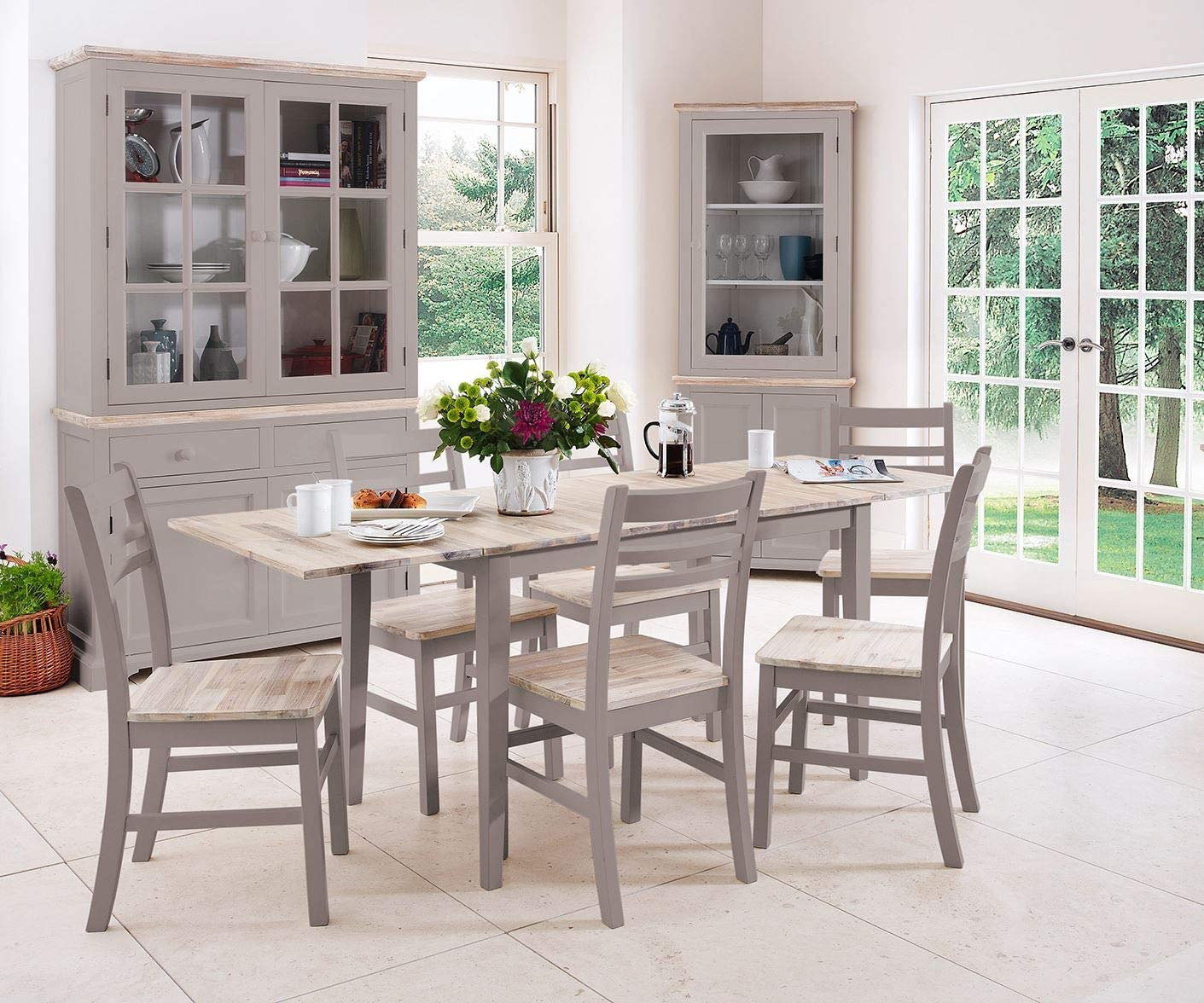 Florence grey rectangular dining table and 4 acacia seat chairs set. Kitchen dining table set. Truffle Set 1