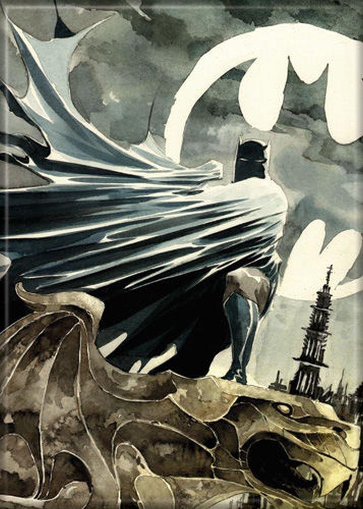 """Ata-Boy DC Comics Watercolor Batman 2.5"""" x 3.5"""" Magnet for Refrigerators and Lockers"""