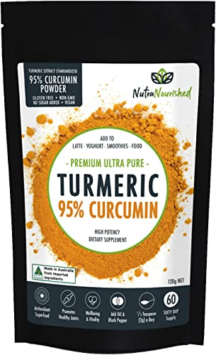 Turmeric Curcumin Supplement w Black Pepper. Premium Arthritis Pain Joint Supplements for Women Men, 95 Standardized Curcumin Powder no Bioperine – not Tumeric Curcuma Capsules or Pills