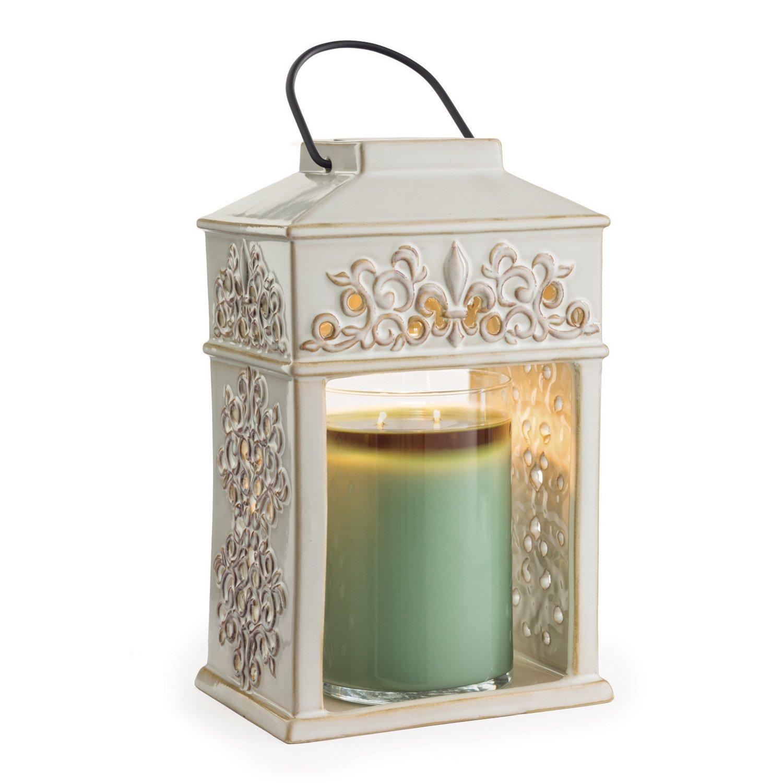 Candle Warmers Etc. Ceramic Candle Warmer Lantern, Fleur de Lis