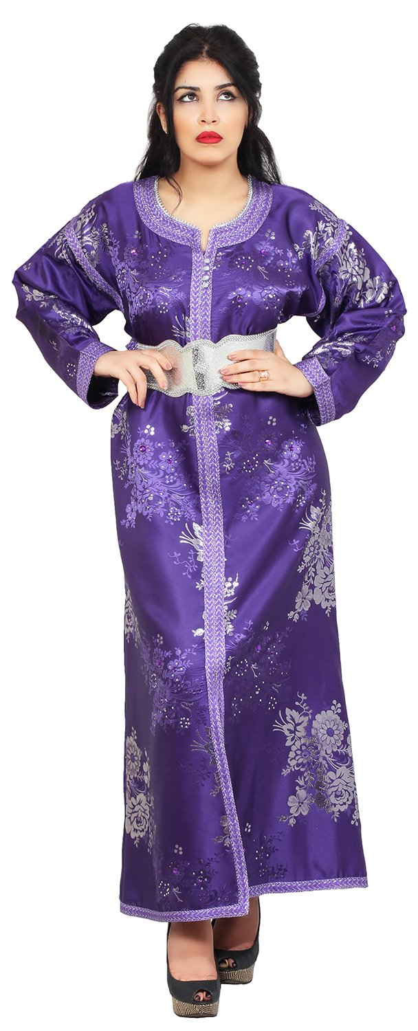 Moroccan Fancy Caftan Women Handmade Embroidery SMALL to LARGE Complimentary Belt Purple