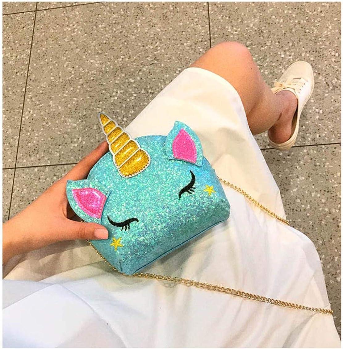 TXVSO Piccola Glitter Carino Unicorno Crossbody borsa a tracolla portafoglio borsa chiusura a cerniera per ragazze adolescenti Donne