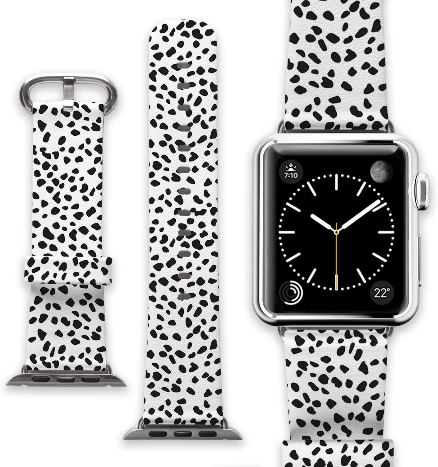 Leather Watchband for Apple iWatch 38mm 40mm Series 1 2 3 4 Replacement Band Women Men Strap Band White Black Cow Dots