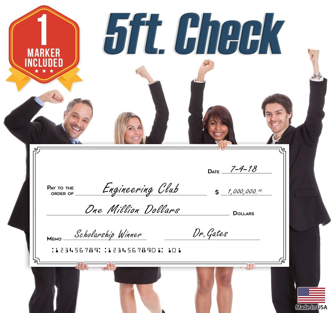 Giant Fake Award Presentation Check - 30'' x 60'' - Large Novelty Endowment Check for Endowment, Donations, Fundraiser - Big Blank Oversized Raffle Sweepstakes Reward Winners Check (Line Borders)