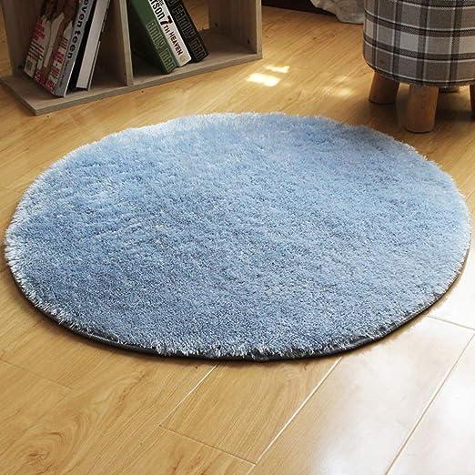 Pelusa de Hierba de Agua Tapete Esponjosa Alfombra Redonda para Sala de Estar y Dormitorio JeogYong Alfombras Azul, 80cm
