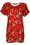 Be Jealous Women's Christmas Oversized Turn Up Sleeve Xmas Candy Red Nose Snowflake T Shirt Top Uk Plus Size 8-22