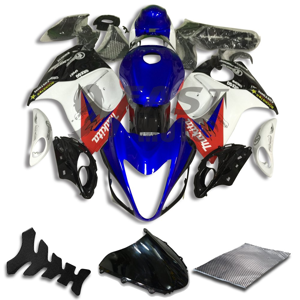 9FastMoto suzuki スズキ 08 - 15 GSXR 1300 Hayabusa 2008 - 2015 GSX-R 1300 用フェアリング オートバイフェアリングキット ABS 射出成形セット スポーツバイク カウル パネル (ブルー & ホワイト) S0762   B07BMXFZFT